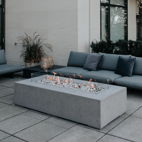 Sonoma with wind gaurd. This is the latest modern linear fire bowl added to our lineup!