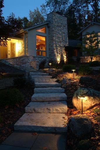 Properly illuminated steps and pathways is much safer at night.