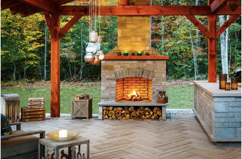 Wood burning fire feature is as rustic and outback as it gets!