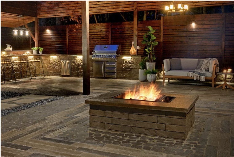 Techo-Bloc Brandon fire feature, available at Creative, along with all burners, pans, and fire accessories.