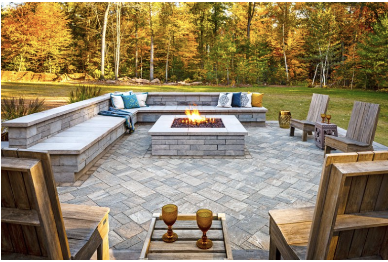 Full outdoor living space, built with Techo-Bloc products, and a professional design.