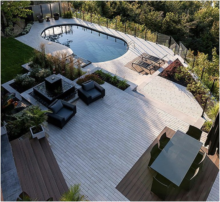 Clean lines, modest colour tones, and a wonderful backyard oasis