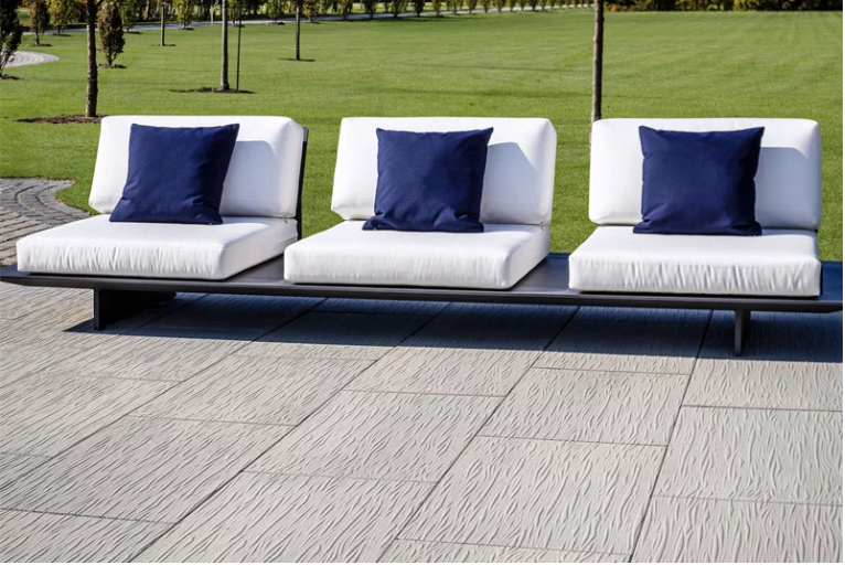 Water front lounge area, using Oceana paver by techo-bloc, available at Creative Landscape Depot.
